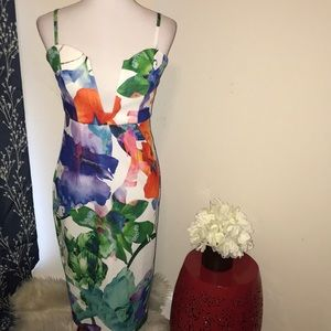 NEW L'Atiste by Amy Tropical  Plunging Neck Dress